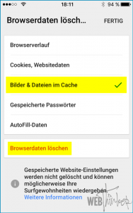 Cache leeren Chrome iOS 2