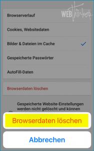 Cache leeren Chrome iOS 4