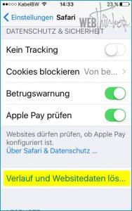Cache leeren Safari iOS 2