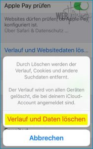 Cache leeren Safari iOS 3