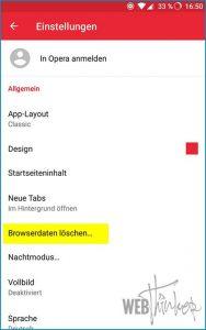 Cache leeren Opera Android 3