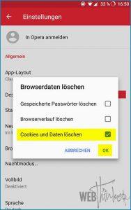 Cache leeren Opera Android 4