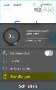 Cache leeren Opera iOS 2