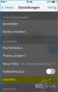 Cache leeren Opera iOS 3