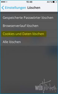 Cache leeren Opera iOS 4