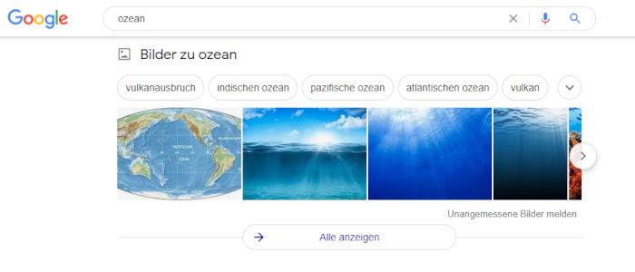 Beispiel der Suchergebnisse von Ozean mit Bilder zu Ozean