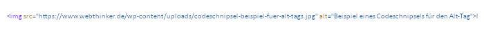 Beispiel eines Bild-Tags im HTML-Code mit einem Alt-Attribut